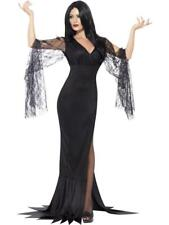 Morticia Adams family Fancy Dress Costume immortal soul witch dress Ladies Hallo