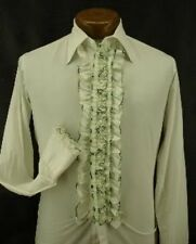 VINTAGE RUFFLED TUXEDO TUX SHIRT RETRO WHITE WITH GREEN TRIM MADE IN USA