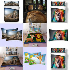 Lion Doona Duvet Quilt Cover Set Single Queen King Size Flat Sheet Animal New