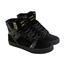 Supra Skytop Mens Black Suede High Top Lace Up Trainers Shoes