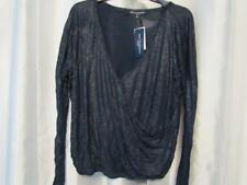 NWT One Clothing Juniors Sparkle Surplice Top Navy Metallic M L Org $34
