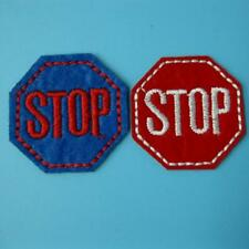 2 Stop Traffic Sign Iron on Sew Patch Applique Badge Embroidered Biker Applique.