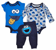 Sesame Street Baby Boys Cookie Monster Bodysuits 3-Piece Outfit Set