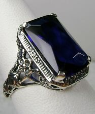 6ct *Blue Sapphire* Sterling Silver Floral Nouveau Filigree Ring [Made To Order]