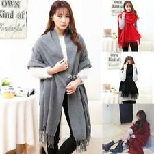 Unisex Multi-function Solid Tassel Fringe Blanket Scarf Wrap Shawl Fall DZ88