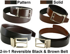 2018 Men's Dress Belt 2-IN-1 Reversible Black Brown Leather -Imported From Spain
