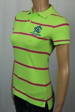 Ralph Lauren Green Pink Striped Skinny Fit Polo Shirt Blue Crest NWT