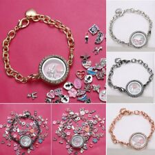 DIY Living Memory Floating Glass Round Heart Locket Crystal Bracelet Family Gift