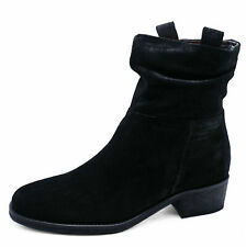 LADIES GENUINE LEATHER BLACK ZIP-UP ANKLE CALF SLOUCH BOOTS COMFY SHOES UK 2-9