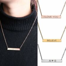 Personalized Stainless Steel Engrave Name Adress Custom Necklace Pendant Gift