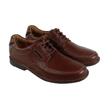Clarks Uncorner Time Mens Brown Leather Casual Dress Lace Up Oxfords Shoes