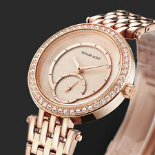 TC Elegant Women Crystal Case Steel Band Lady Bracelet Analog Quartz Wrist Watch