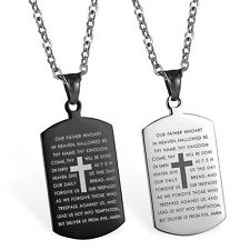 """Stainless Steel Carved Cross Lords Prayer Dog Tag Pendant Men Women Necklace 22"""""""