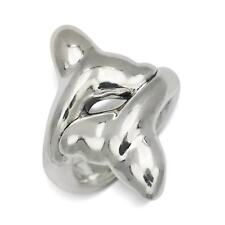 Sterling Silver Electroform Polished Whale Tail Bypass Ring - White