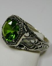 2ct Green Peridot Solid Sterling Silver Victorian Filigree Ring {Made To Order}