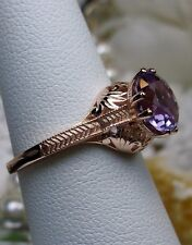 Victorian Natural Amethyst Sterling Silver Filigree Ring Size: {Made To Order}