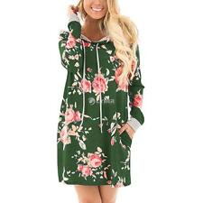 Women Fashion Hooded Long Sleeve Floral Print Pullover Hoodie Dress DZ88 03