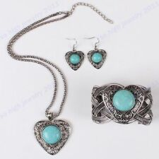 Antique Silver Turquoise Heart Necklace Bangle Earring Women Vintage Jewelry set
