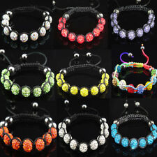 Charms Mix Color 10mm CZ Crystal Clay Disco Ball Women Mens Shamballa Bracelets