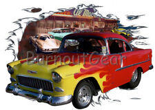 1955 Red Flames Chevy Shorty Custom Hot Rod Diner T-Shirt 55 Muscle Car Tee's