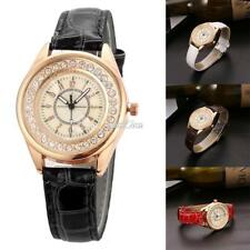 Women Rhinestones Quartz Wrist Watch Alligator Pattern Faux Leather Band RR6