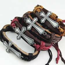 Cool New 6-12pcs Leather  Vintage Cross Women Mens Bracelets Bangles Wholesale