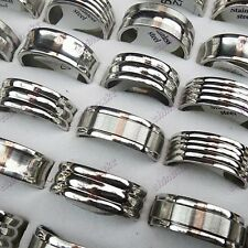10-50pcs Stainless steel Fashion Women Mens Silver Rings Wholesale Jewelry Lots