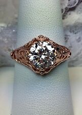 White Gem Sterling Silver & Rose Gold Daisy Filigree Ring Size {Made To Order}
