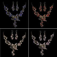 Crystal Rhinestone Butterfly Women Necklace Earrings Wedding Bridal Jewelry Set