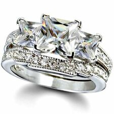 Sterling Silver wedding set size 8 CZ Princess cut Engagement Ring Bridal New