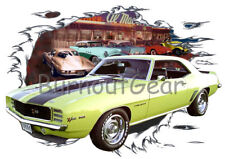 1969 Yellow Chevy Camaro Z28 d Custom Hot Rod Diner T-Shirt 69 Muscle Car Tees