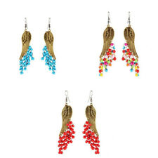 1 Pair Angel Wing Dangle Earring Beads Tassel Drop Earrings Hook Jewelry