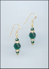 Simple Beauty, Gold Rondelle Earrings with Swarovski EMERALD GREEN Crystals