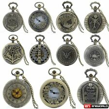 Stainless Steel Vintage Retro Pocket Watch Quartz Necklace Chain Mens Antique