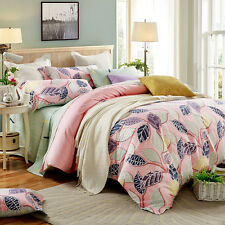 Cotton Leaves Double Queen Size Duvet Quilt Doona Cover Set Bed Covers Set New