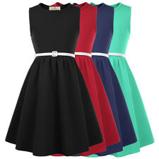 Vintage Girls Sleeveless Round Neck A-Line Skater Dress With Leather Belt Xmas