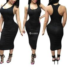 Women Sexy O Neck Sleeveless Solid Stretchy Ruched Bodycon Midi Tank DZ88 01