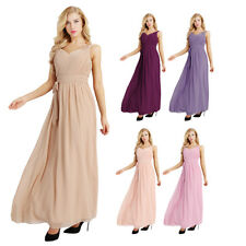 Women Long Formal Pleated Evening Prom Party Bridesmaid Chiffon Ball Gown Dress