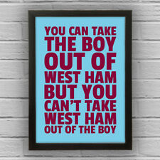 WEST HAM - BOY/GIRL FRAMED WORD TEXT ART PICTURE POSTER – custom