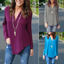 Wome Chiffon Shirt Loose Long Sleeve V Neck Formal Casual Blouse T Shirt Tops GW