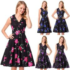 Retro 50s Rockabilly Womens Rose Print Evening Party Mini Dress Plus Size Dress