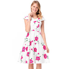 White Vintage Floral Print Swing Skater Party Evening 50 Retro Mini Tea Dress