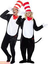 Adults Cat In The Hat Costume Mens Ladies Dr Seuss Fancy Dress Book Week Outfit