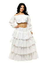 PIRATE RENAISSANCE WENCH COSTUME CROP TOP SHIRT BLOUSE CHEMISE WHITE LADY COTTON
