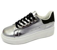 LADIES SILVER LACE-UP PLATFORM CREEPERS FLATFORM WEDGE PUMPS TRAINERS SHOES 3-8