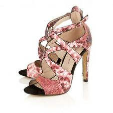 LADIES DOLCIS LEXI PINK PLATFORM HIGH-HEEL STRAPPY OPEN-TOE SANDALS ZIP SHOES