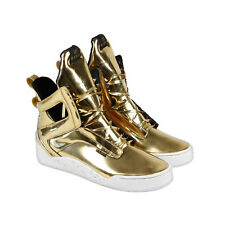 Radii Prism Mens Gold Patent Leather High Top Lace Up Sneakers Shoes