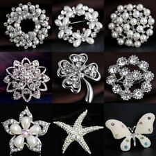 CHIC SILVER TONE WHITE FAUX PEARL FLOWER RHINESTONE CRYSTAL PIN BROOCH WEDDING