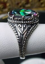 6ct Oval *Mystic Topaz* Sterling Silver Gothic Filigree Ring Size: Made To Order