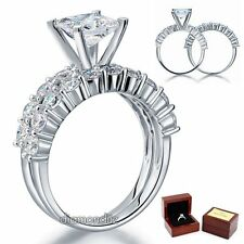 Sterling 925 Silver Bridal Wedding Engagement Ring Set 1.5 Ct Princess Diamond